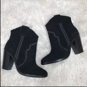 Joie Black Suede Studded Ankle Boots